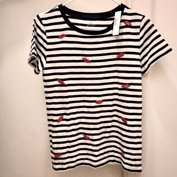 J. Crew Tops - J. Crew Striped T-Shirt with Embroidered Lips